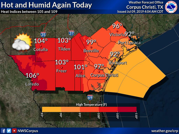 Heat Advisory Issued; Cooling Centers Open in Corpus Christi