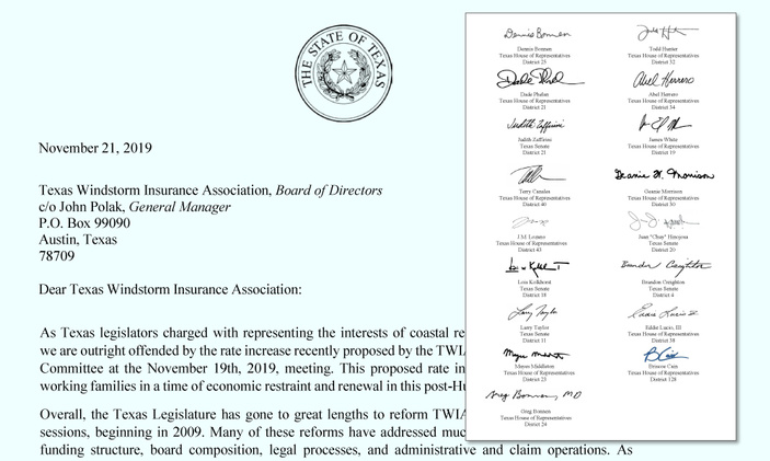 18 Legislators Voice Outrage at TWIA Rate Hike