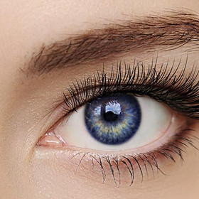 woman's blue eye